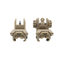 Front and Rear Polymer Flip-Up Sights-Tan